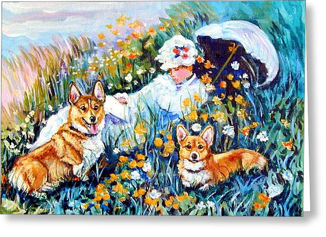 In The Field With Corgis After Monet Greeting Card by Lyn Cook