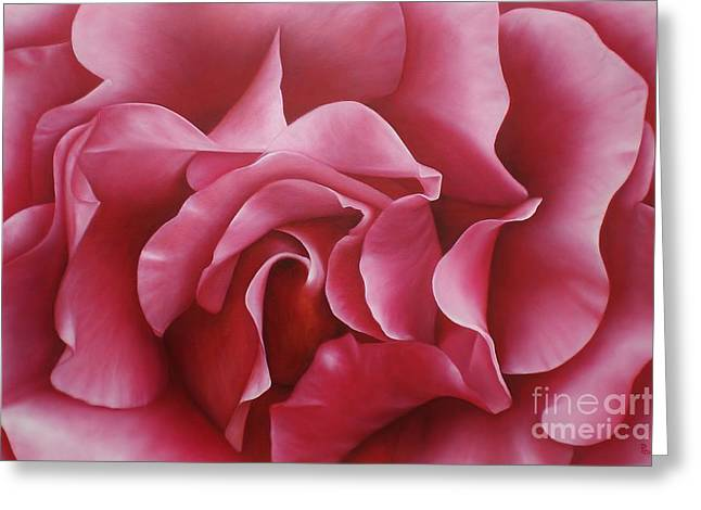 Greeting Card featuring the painting In The Heart Of A Rose by Paula L