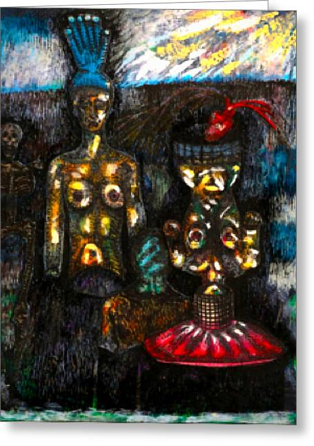 In The Lair Of The Stalking Beast   The Twins Greeting Card by Al Goldfarb
