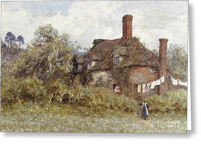 In The Spring Greeting Card by Helen Allingham