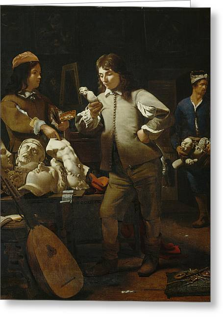 In The Studio Greeting Card by Michael Sweerts