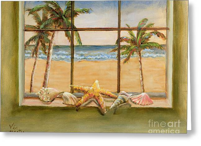 Greeting Card featuring the painting In The Tropics by Vic  Mastis