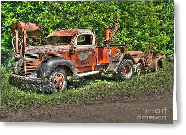 In Tow Greeting Card by Jimmy Ostgard