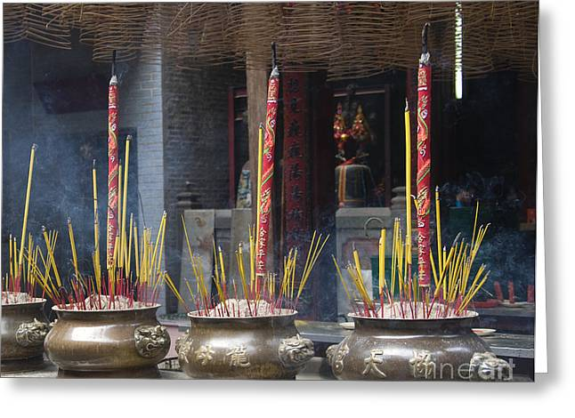 Incense Burning In The Thien Hau Temple Greeting Card by David Buffington