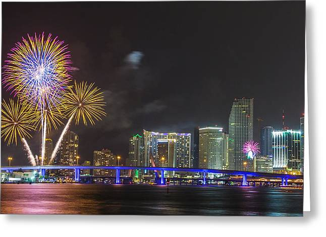 Independece Day Fireworks Greeting Card by Claudia Domenig
