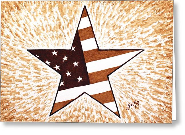 Independence Day Star Usa Flag Coffee Painting Greeting Card by Georgeta  Blanaru