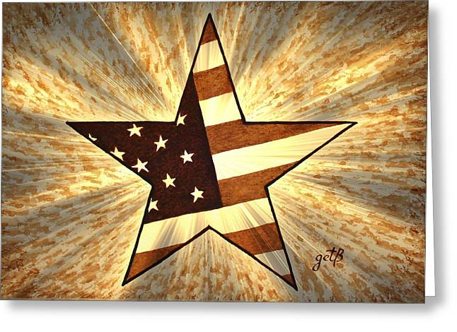 Independence Day Stary American Flag Greeting Card by Georgeta  Blanaru