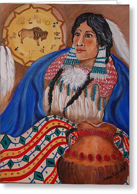 Indian Bride Greeting Card by Janna Columbus