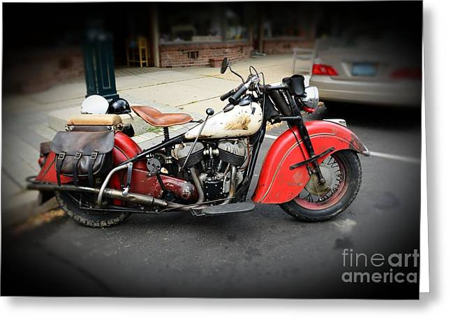 Indian Chief Motorcycle Rare Greeting Card by Paul Ward