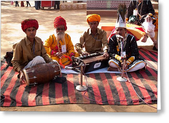 Indian Folk Singers And Musicians At The Surajkand Mela Greeting Card