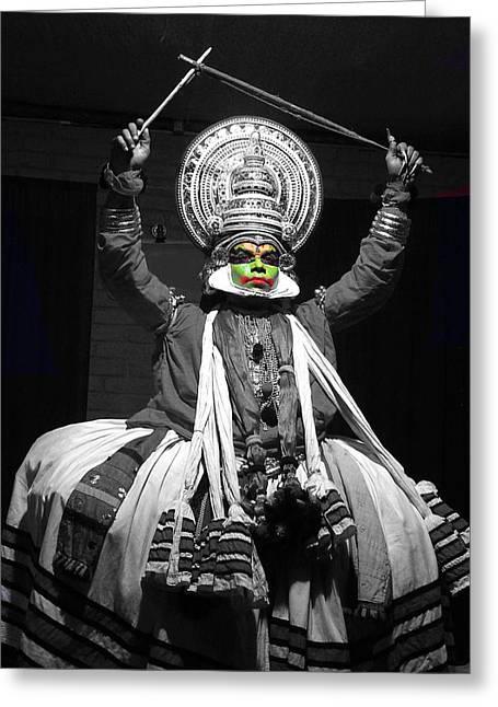 Indian Kathakali Dance Of Kerela 2 Greeting Card by Sumit Mehndiratta
