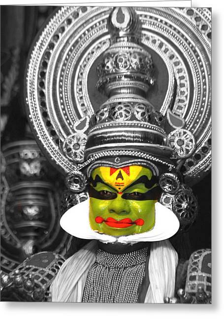 Creative Greeting Cards - indian kathakali dance of Kerela Greeting Card by Sumit Mehndiratta