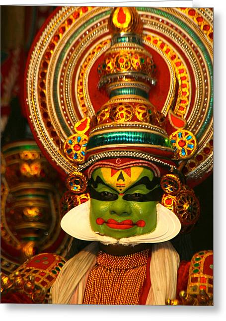 Indian Kathkali Dance Of Kerela 4 Greeting Card by Sumit Mehndiratta