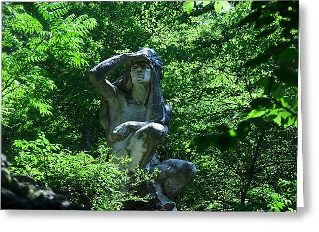 Indian Statue Along The Wissahickon Greeting Card by Bill Cannon