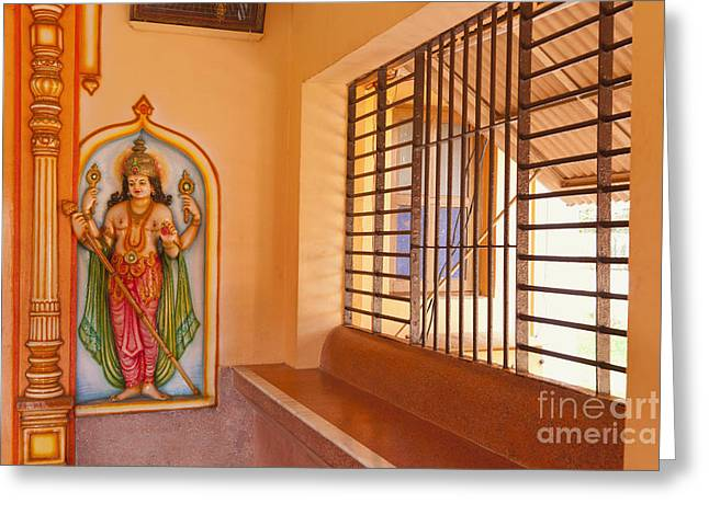 Indian Temple Bench And Artwork Greeting Card by Inti St. Clair