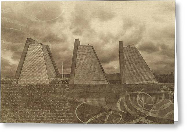 Indianapolis Pyramids Textured 2 Greeting Card by David Haskett