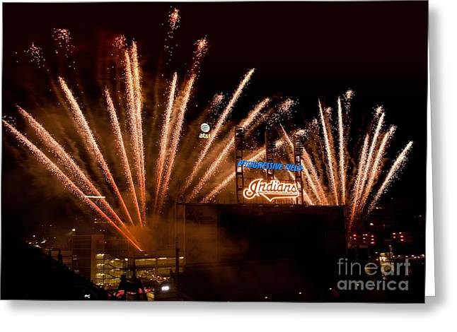 Indians Fireworks Greeting Card by Bob Niederriter