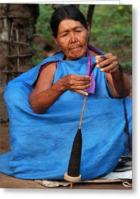 Indigenous Guarani Spinning. Department Of Santa Cruz. Republic Of Bolivia. Greeting Card