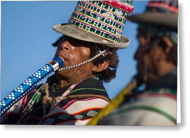 Indigenous Music Festivals. Republic Of Bolivia Greeting Card