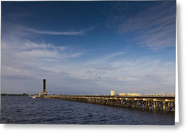 Industrial Avenue Over The Manatee River Greeting Card by Nicholas Evans