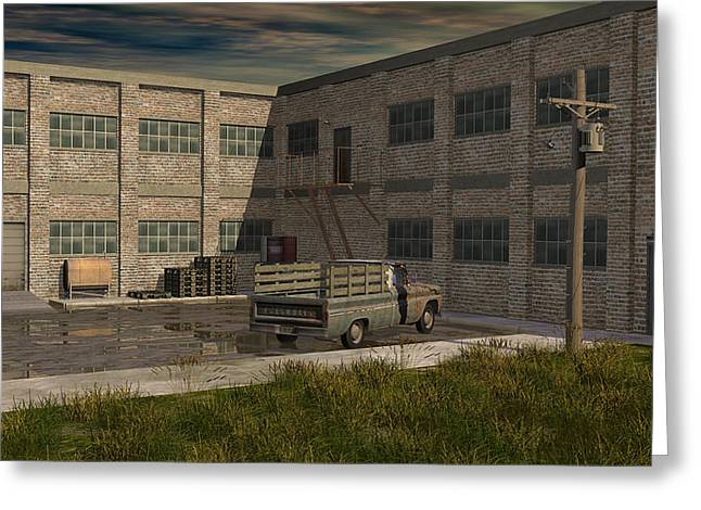 Industrial Courtyard Greeting Card by Robin Meade