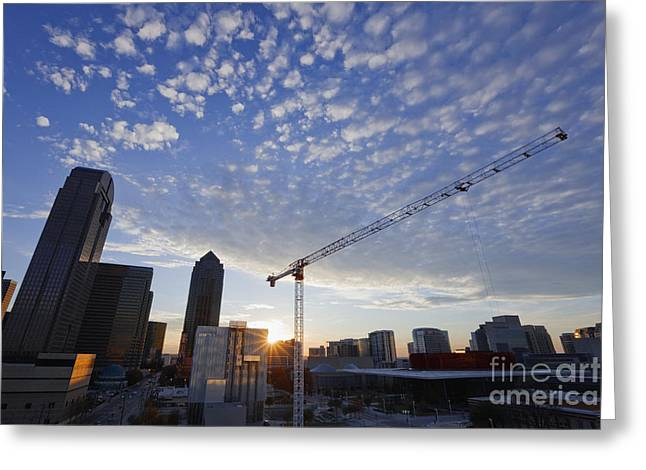 Industrial Crane Within City Skyline Greeting Card by Jeremy Woodhouse