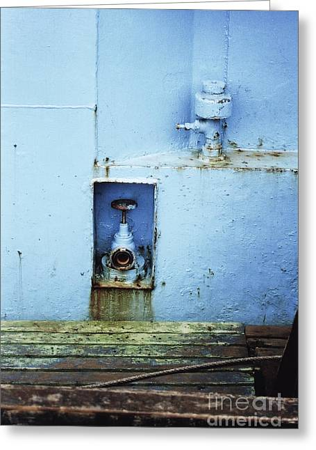 Industrial Detail In Turquoise Blue Greeting Card by Agnieszka Kubica