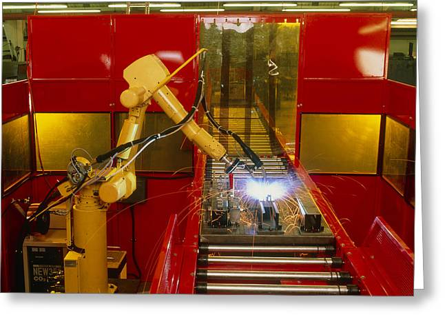 Industrial Robot Welding On Production Line Greeting Card by David Parker600-group