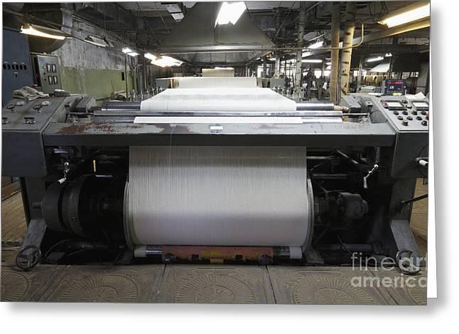 Industrial Textile Loom Greeting Card by Magomed Magomedagaev