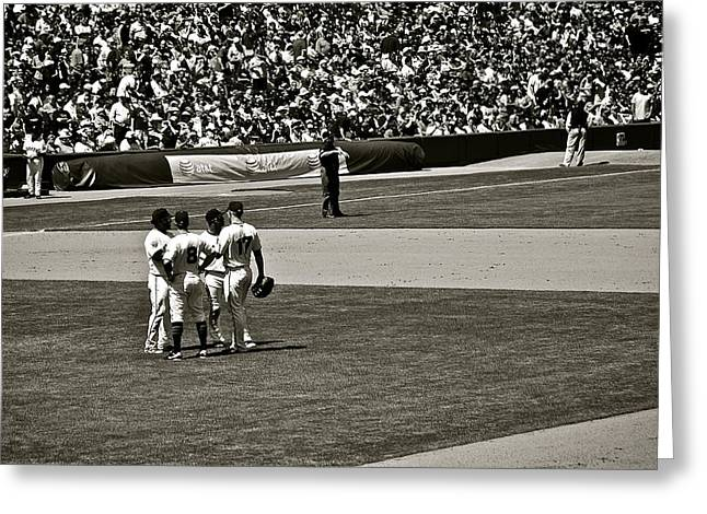 Greeting Card featuring the photograph Infield Meeting by Eric Tressler