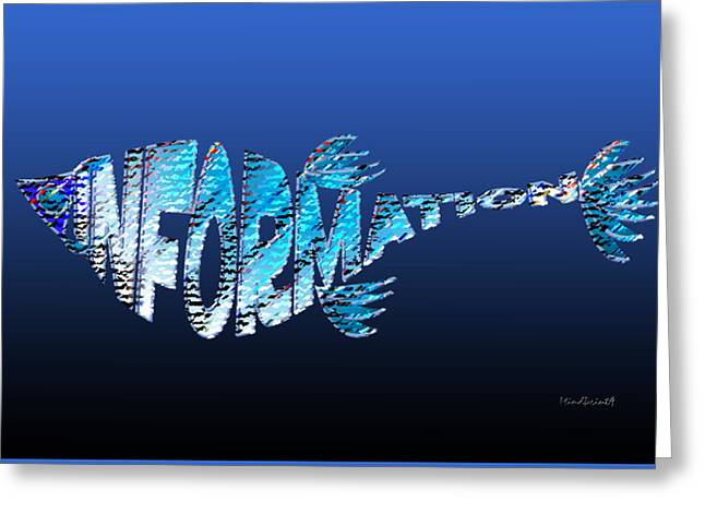 Greeting Card featuring the digital art Info Fish by Asok Mukhopadhyay