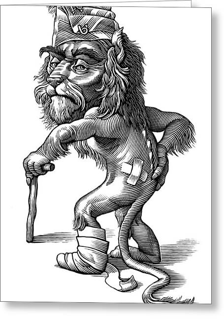 Injured Lion, Conceptual Artwork Greeting Card by Bill Sanderson