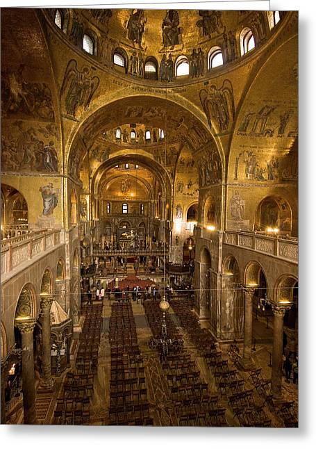 Inside San Marcos Basilica Greeting Card by Jim Richardson