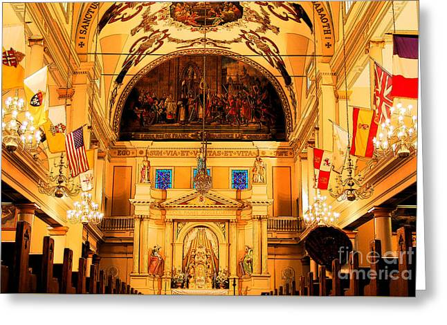 Inside St Louis Cathedral Jackson Square French Quarter New Orleans Ink Outlines Digital Art Greeting Card by Shawn O'Brien