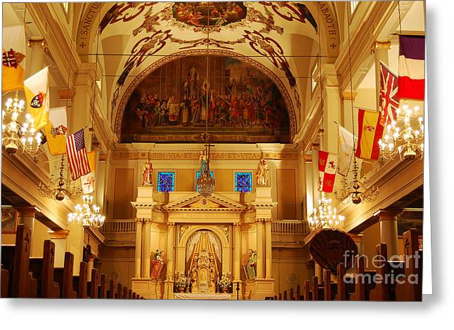 Inside St Louis Cathedral Jackson Square French Quarter New Orleans Greeting Card by Shawn O'Brien