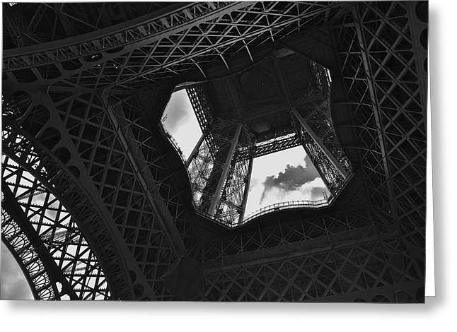 Greeting Card featuring the photograph Inside The Eiffel Tower by Eric Tressler