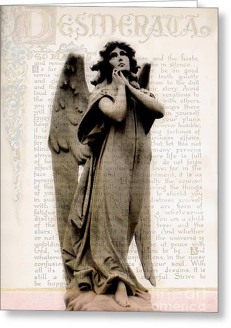 Inspirational Angel Art With Desiderata Words  Greeting Card