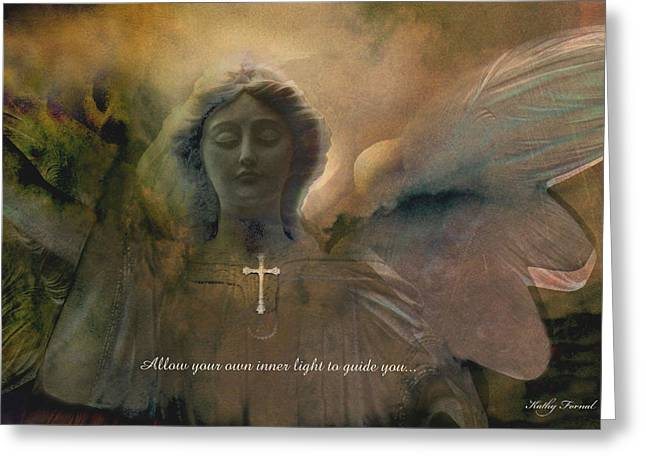 Inspirational Dreamy Angel Art Digital Painting  Greeting Card