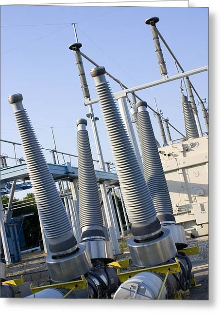 Insulators At Electricity Substation Greeting Card by Mark Williamson