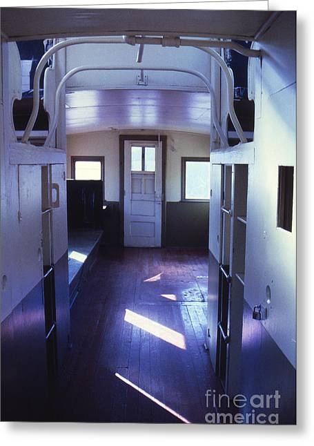 Interior Of A Vintage Train Caboose Greeting Card