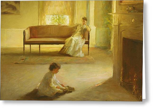 Interior With Mother And Child Greeting Card by Edmund Charles Tarbell
