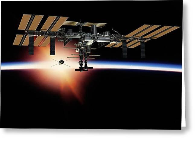 International Space Station, Artwork Greeting Card by David Ducros