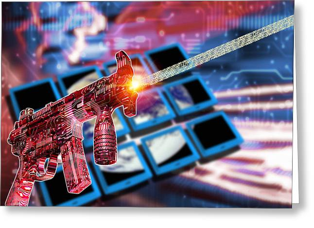 Internet Terrorism Greeting Card by Victor Habbick Visions