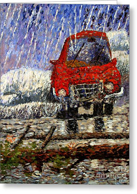 Into The Epochal Storm Greeting Card by Charlie Spear