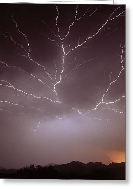 Intra-cloud Lightning At Night, Over Phoenix, Usa Greeting Card by Keith Kent