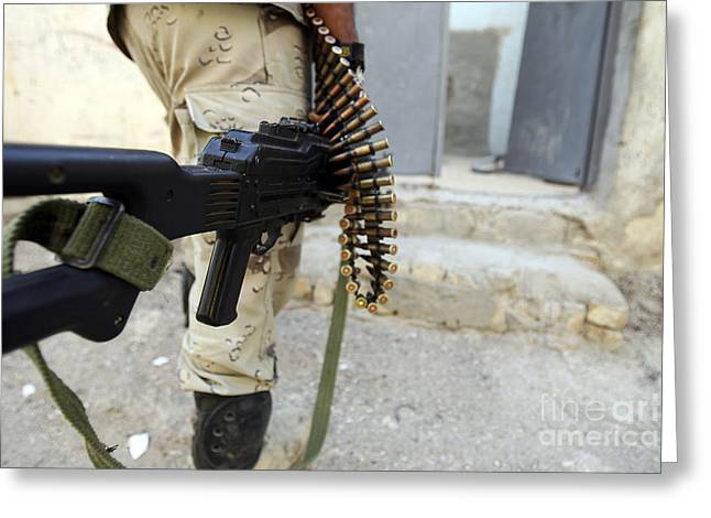 Iraqi Soldiers Carrying Machine Guns Greeting Card by Stocktrek Images