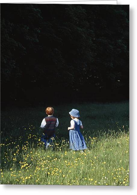 Ireland Children In A Field Greeting Card by The Irish Image Collection
