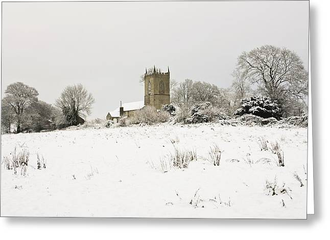 Ireland Winter Landscape With Church Greeting Card by Peter McCabe