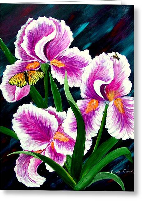 Iris And Insects Greeting Card