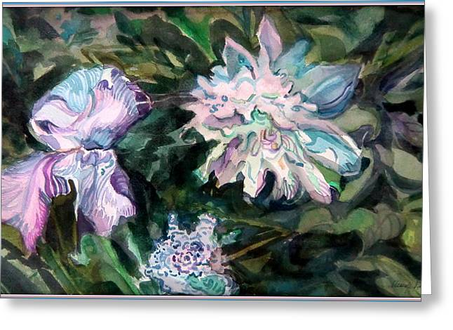Iris And Peonies Greeting Card by Mindy Newman